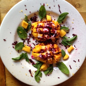 Shredded Raw Over a Mango with Mint and Yoghurt