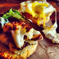"""""""Brassica Head"""" at Red Bread Cafe; Cauliflower on Sourdough Buttermilk Biscuit with Fried Egg"""
