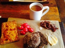 Black Bread Bun, Radish, Butter, Jam, Homemade Jammy Tart at Red Bread Cafe