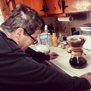 I was sick in bed and my love made coffee . . . not too patient
