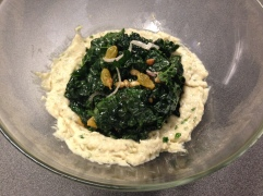 """I call this my """"foodbod"""" lunch because it reminds me of Elaine -- white bean puree with herbs with kale, raisins, pickled onion, vinegar and olive oil"""