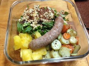 Mangalitsa brat lunch with salad, potato and pineapple
