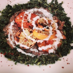 Farro with broiled citrus, yogurt and stinging nettles