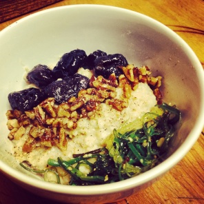Miso Oats with prunes, pecans and nama wakame