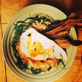 Miso Oats with Duck Egg, Bacon and Nama Wakame