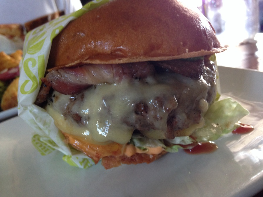 Dry aged beef, comte cheese, applewood bacon, avocado, red onion, iceberg , spicy mayo