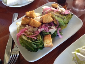 Grilled Caeser Salad with Pickled Onion, Brioche Croutons