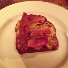 Little Elvis open faced sandwich -- banana sourdough bread with plantain, bacon and tahini