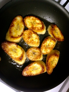 Making plantains for lunch
