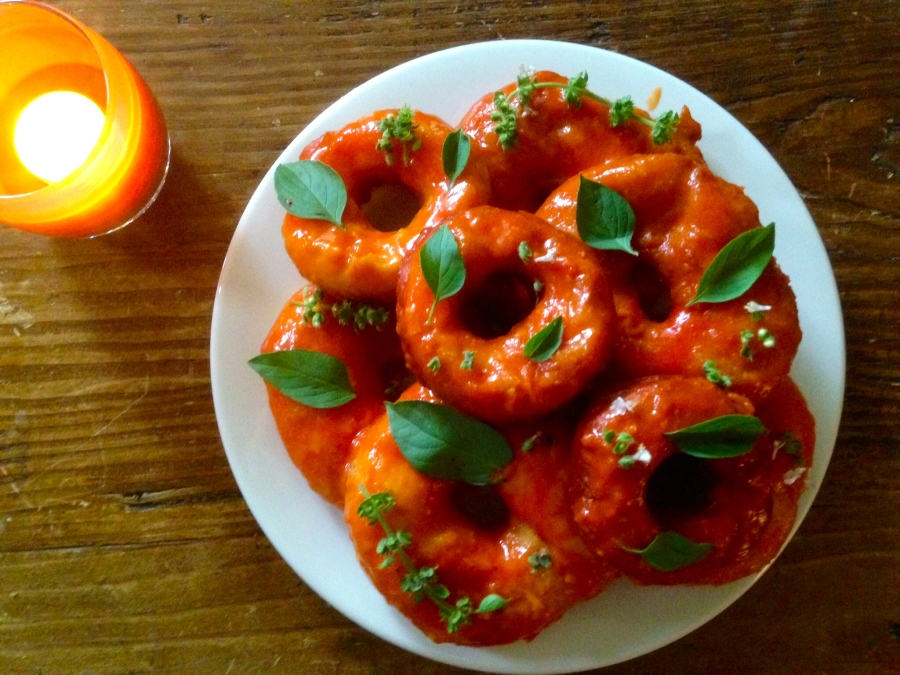 Nectarine Glazed Donuts with Lemon Basil