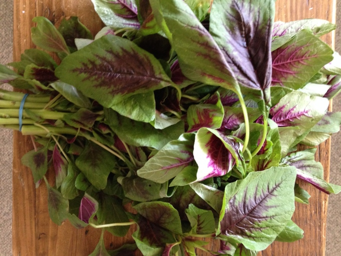 Add some leafy greens -- this is amaranth, also known as chinese spinach