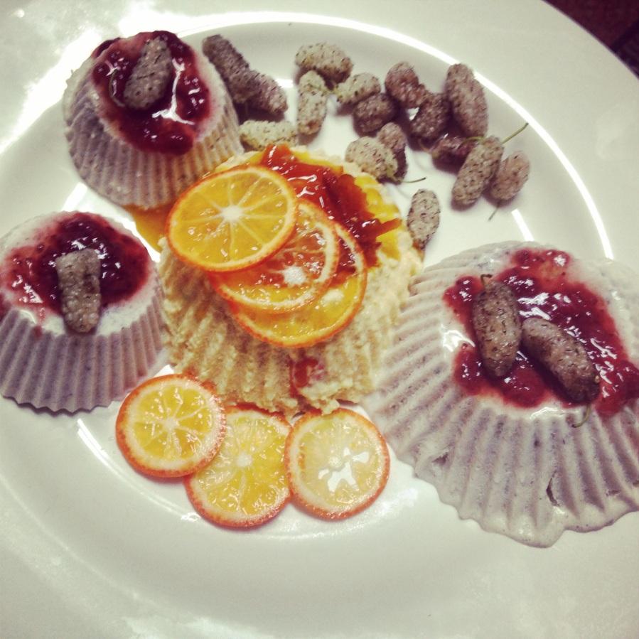 Mandarquat and White Mulberry Panna Cottas