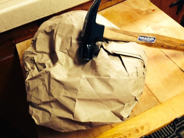 Hammer & Paper Bag or Towel = Coconut Meat