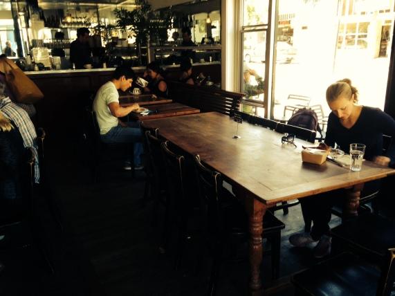 A rarity: near empty table at Tartine