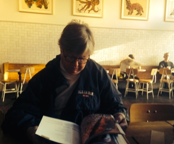 Mom reading Josey Baker's book -- it's very user friendly, for an artisan bread book