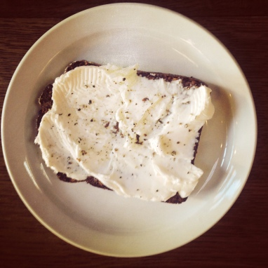 Dark Mountain Rye with Cream Cheese & Black Pepper