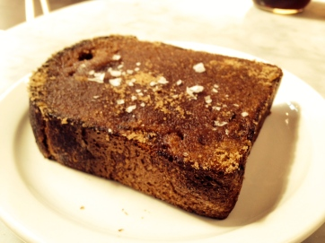 """One of the 4 """"Toast"""" options on Menu: Country Loaf Slice with Cinnamon Sugar, Butter and Salt"""