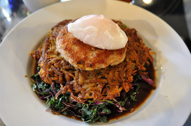Braised Greens, Rosti, Sausage, Duck Egg