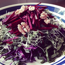 Superfood Slaw with Raw Beet, Sprouts & Walnuts