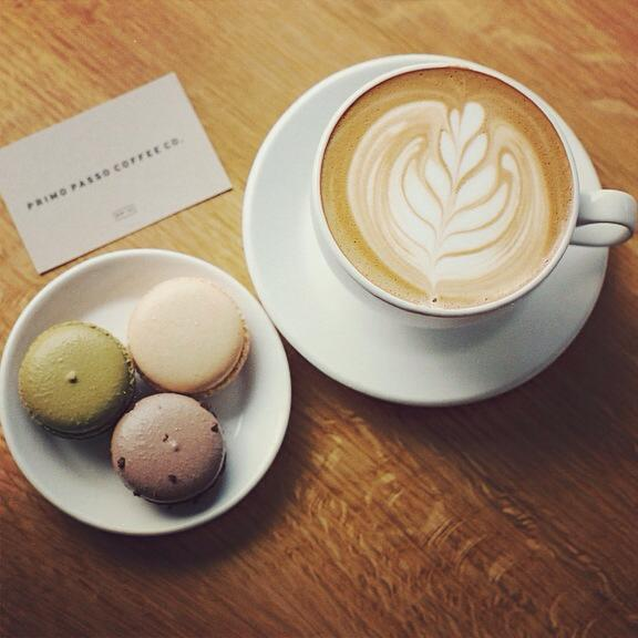 Latte and Macarons at Primo Passo