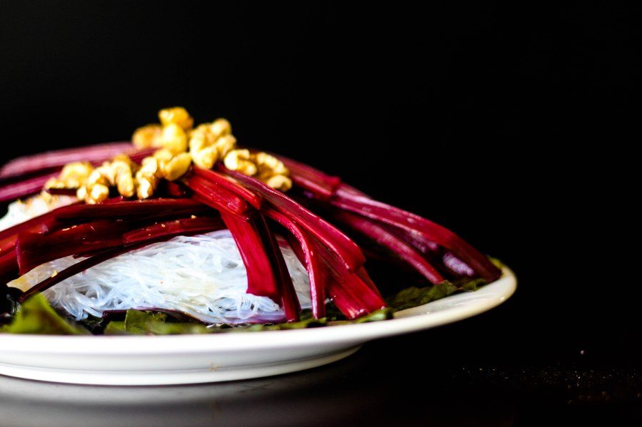 Long Cooked Beet Stalks with Rice Vermicelli, Walnut, Beet Greens and Dressing