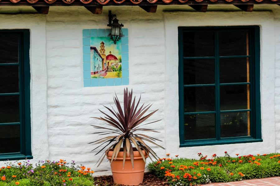 Casa Guadalupana Close Up Tile Windows Front