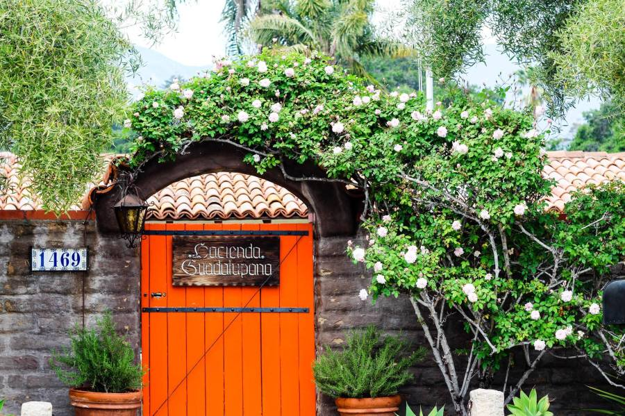 Hacienda Guadalupana Front Orange Door cropped