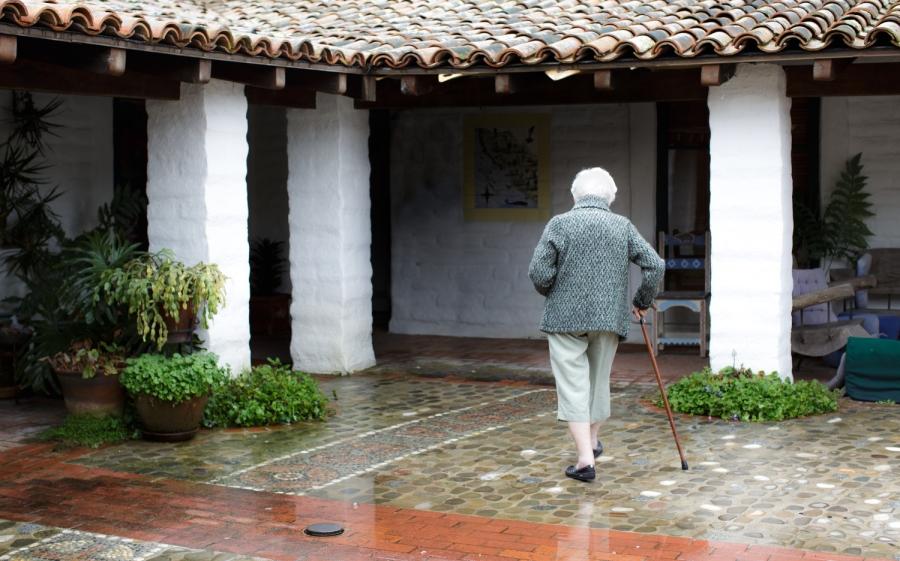 Winnie in courtyard